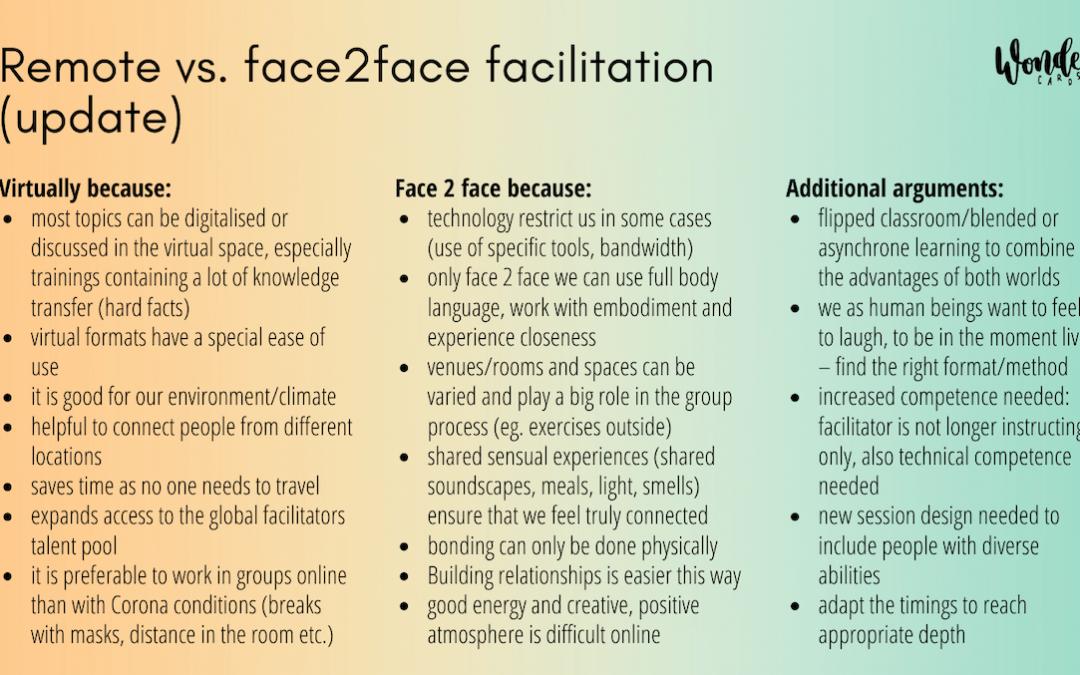 Moderation: virtuell versus face2face, Argumente