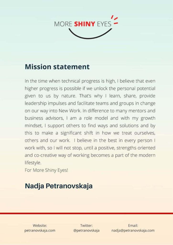 Nadjas Petranovskaja More Shiny Eyes Manifesto